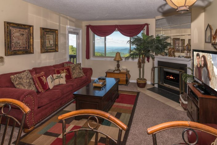 "42"" TV/DVD & Fireplace in a comfortable living room with awesome mountain views"